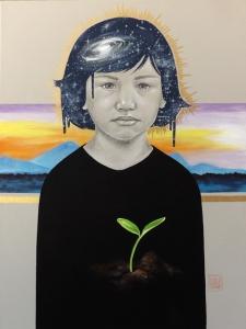 Seeds and light artwork to raise money for children in poverty by artist Sara Drescher Braswell