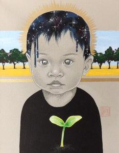 art to raise money for children in need seed of potential painting by artist Sara Drescher